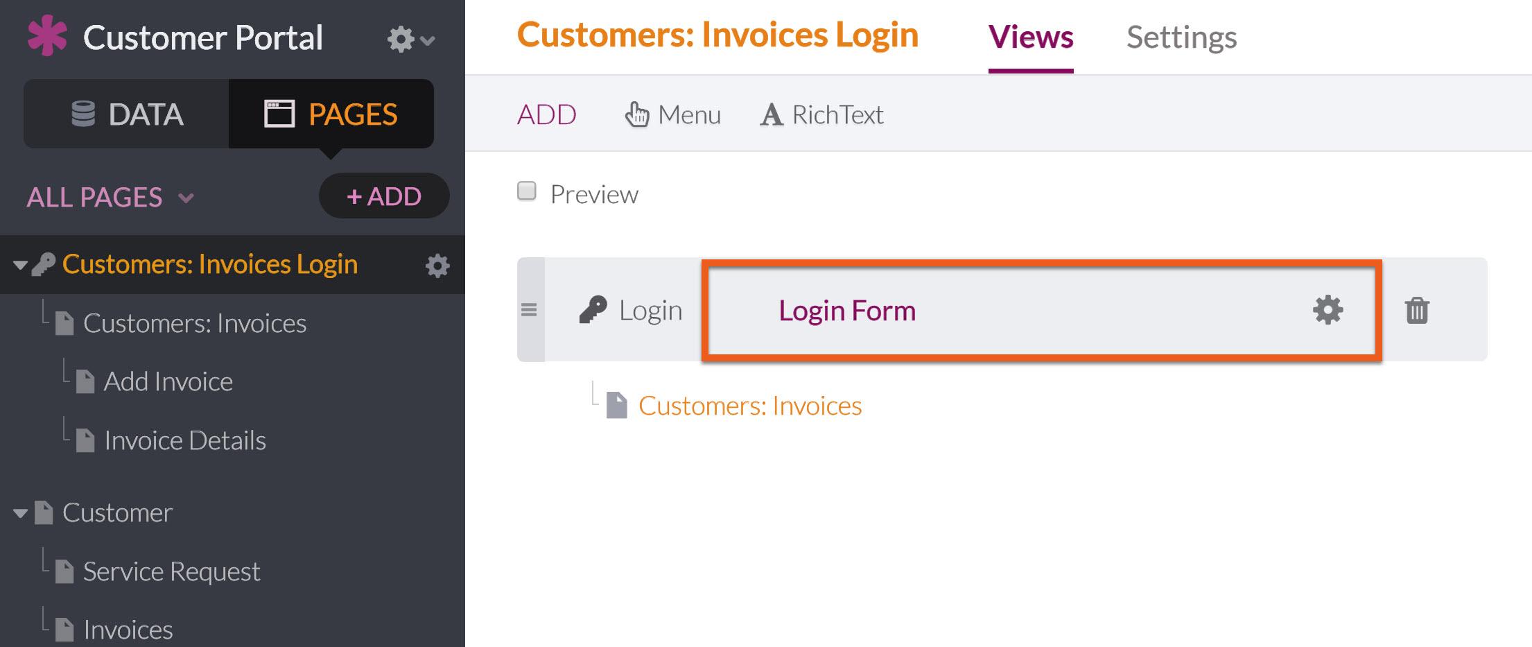 Logins And Registrations Knack - Open invoice login