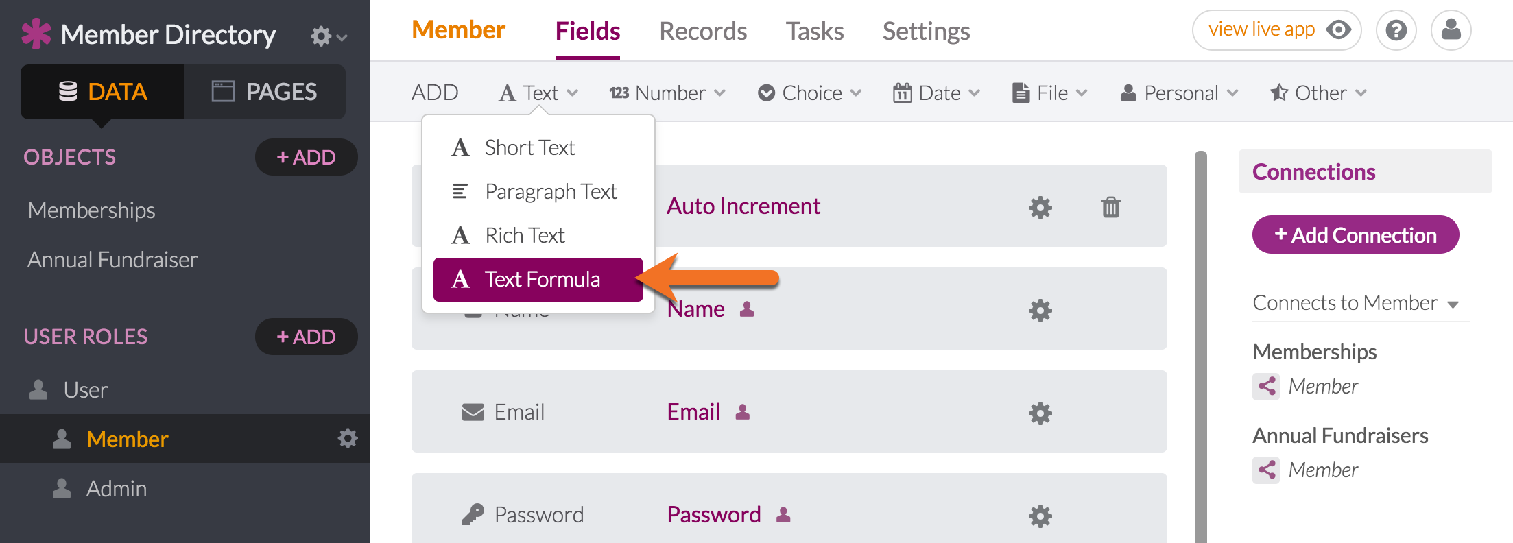 Hover Over The Text Name Icon At Top And Choose Formula Add Your Field Click