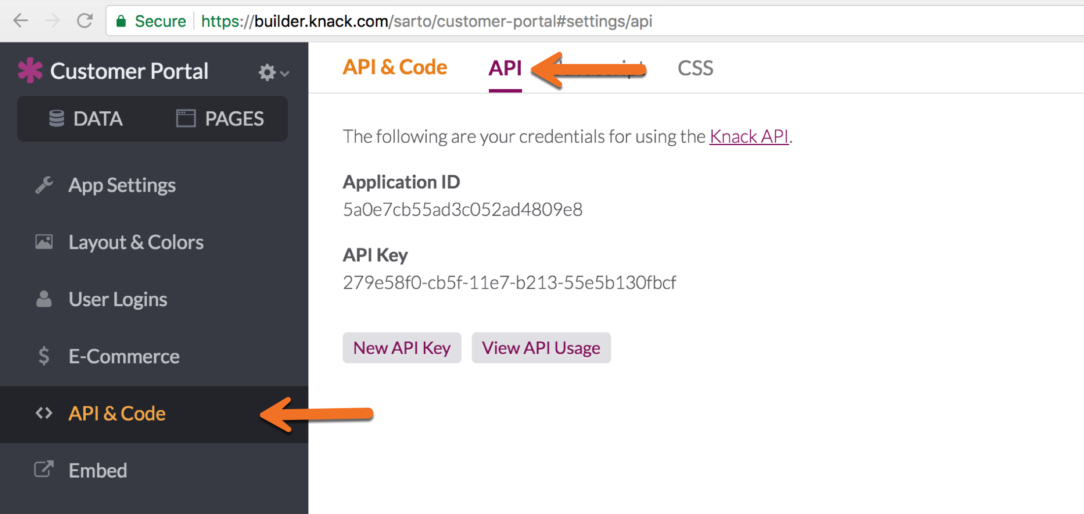 API key and application ID in Builder