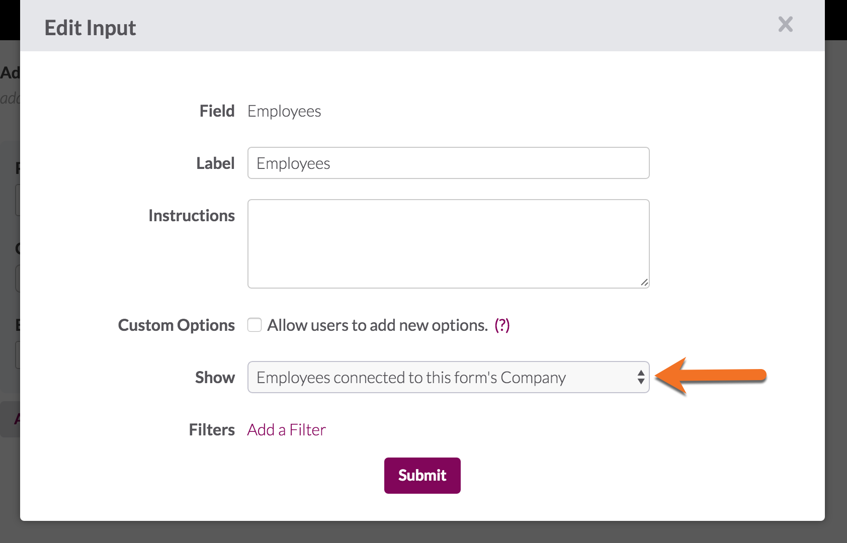 Showing ParentChild Dropdowns in Forms Knack – Employee Update Form