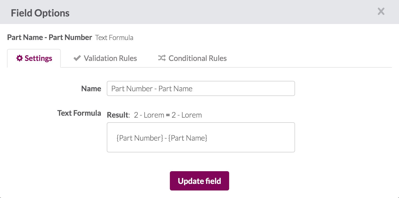 Text Formulas – Knack